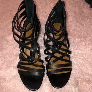 'Neta' Leather Wedge Sandal - Size 9